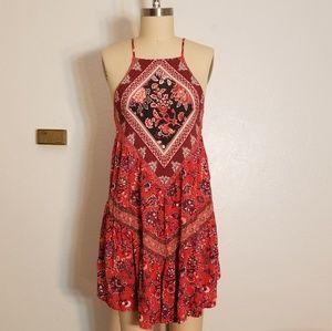 Boho Floral Coral and PurpleSun Dress